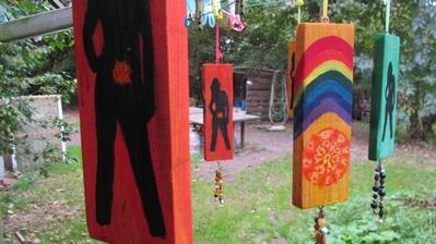 Geschilderde Chakra meditatie plankje: rood
